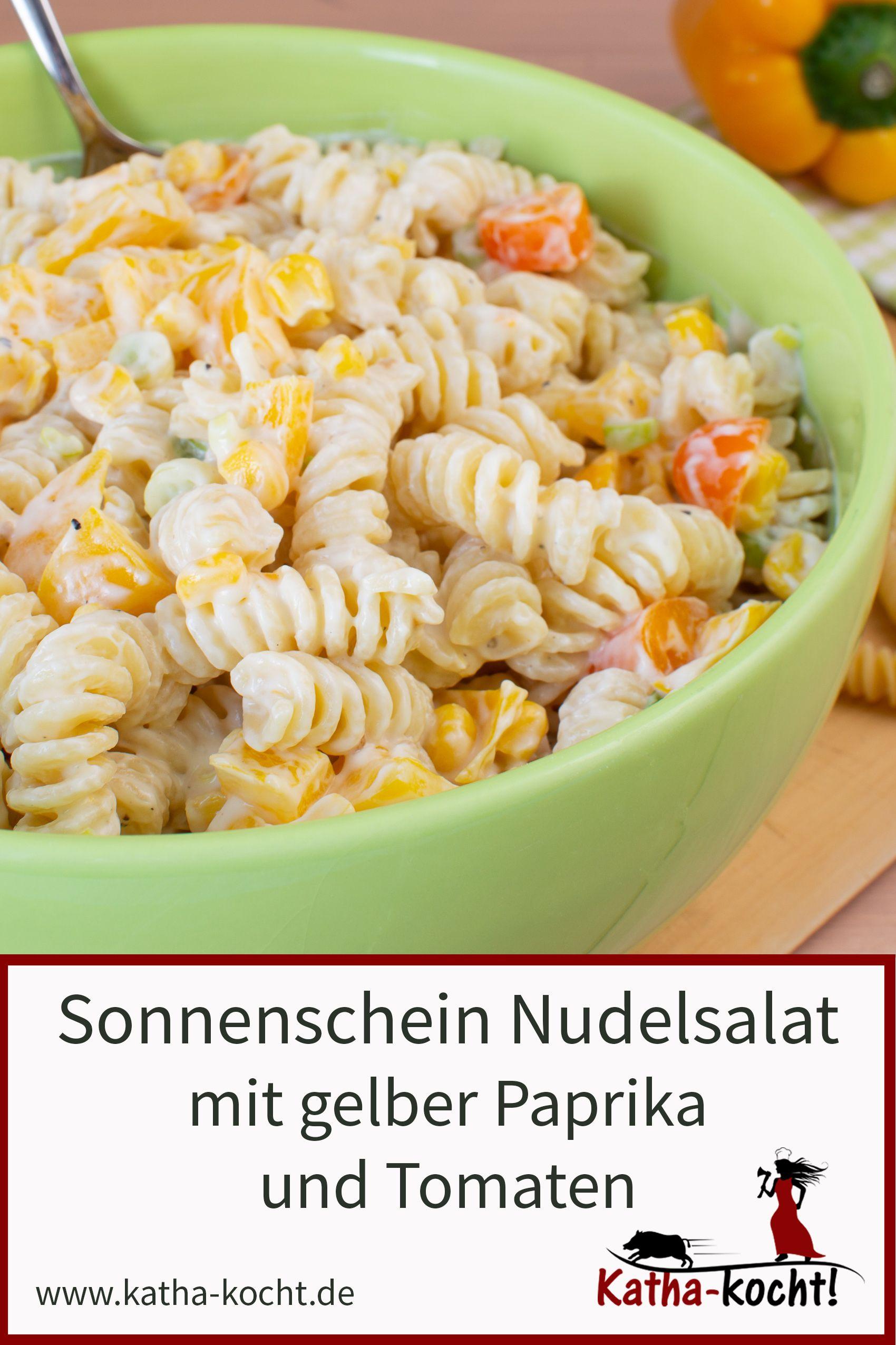 Sonnenschein Nudelsalat mit gelber Paprika und Mais   Katha kocht ...