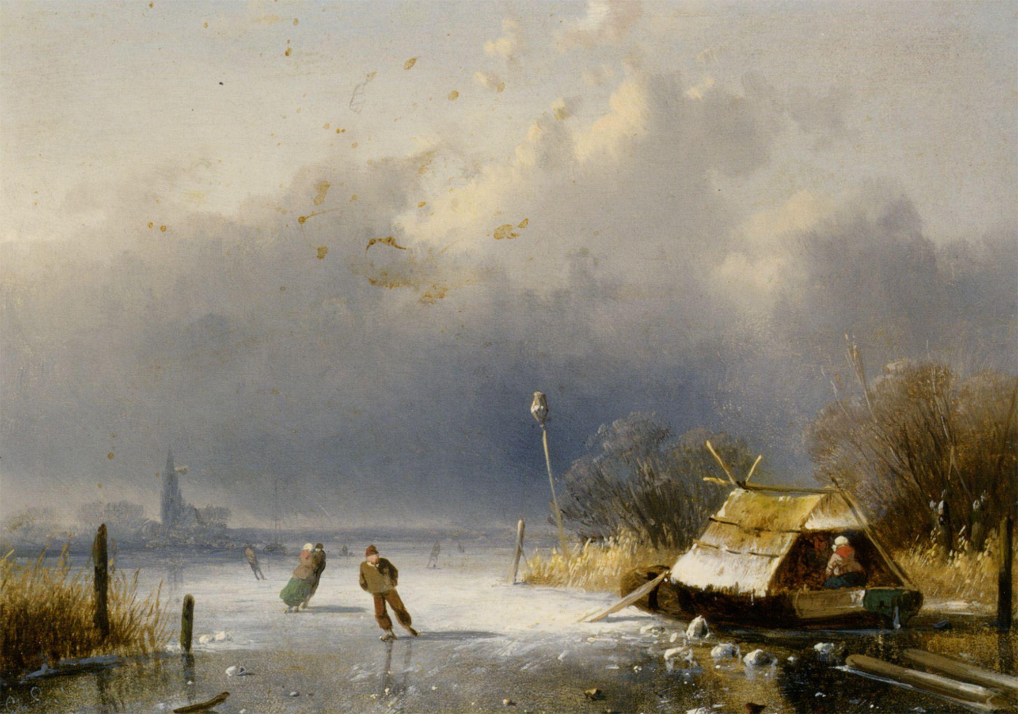 Charles Leickert - Winterlandschap met met figuren op het ijs (2)