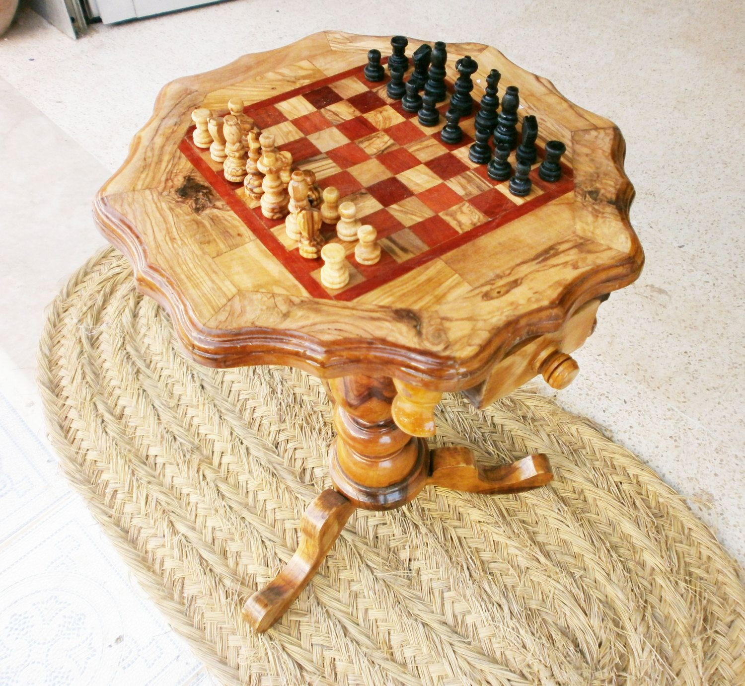 Olive wood chess table best chess sets pinterest chess woods and chess sets - Wooden chess tables ...