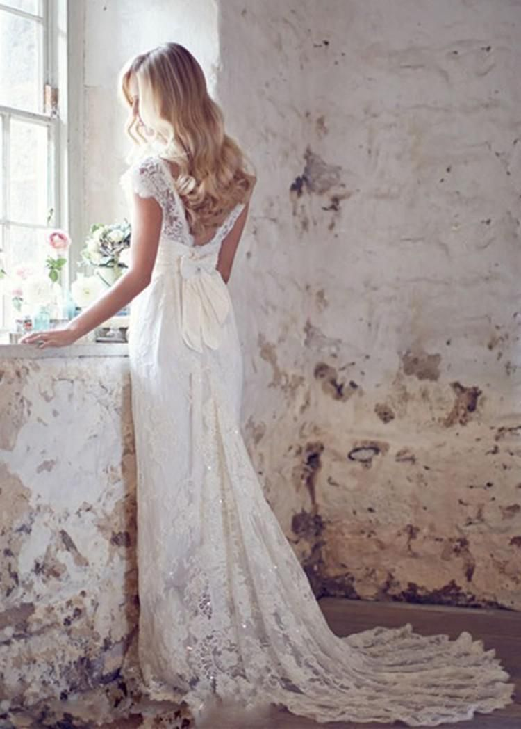 Mansa 2015 vintage lace wedding dress with cap sleeves for Vintage backless wedding dresses