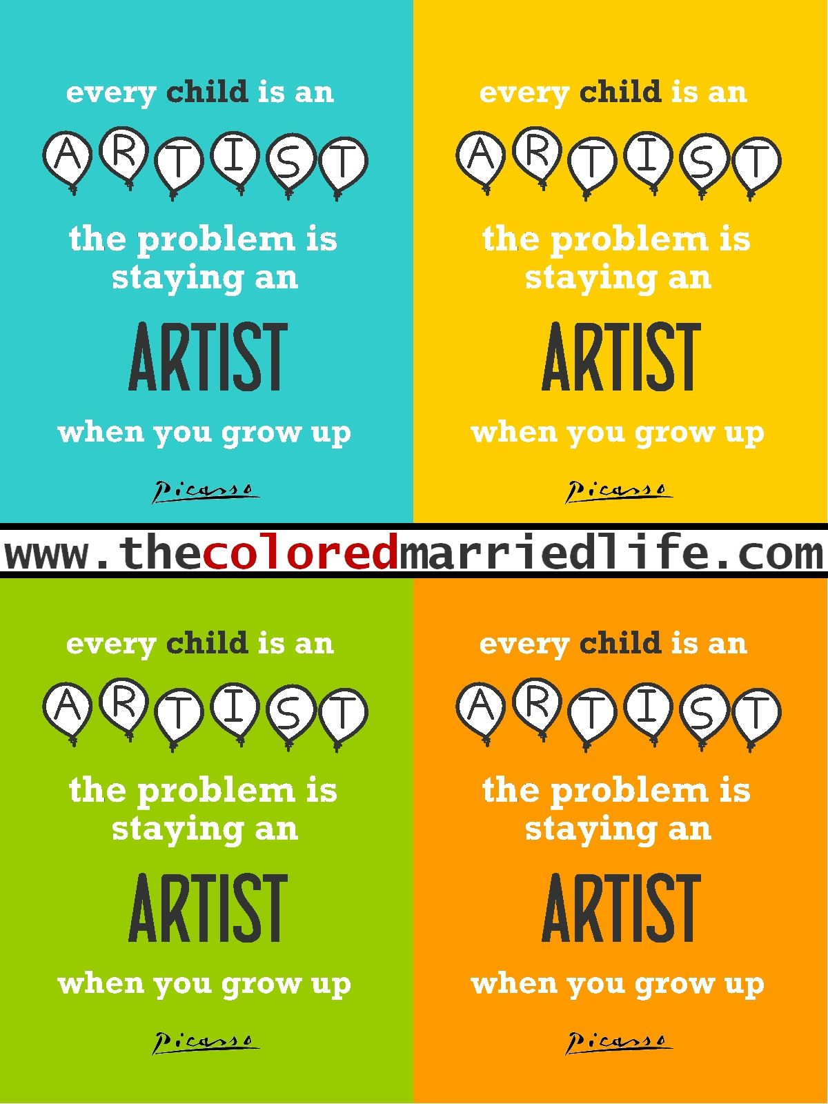 The Colored Married Life Picasso S Quote Free