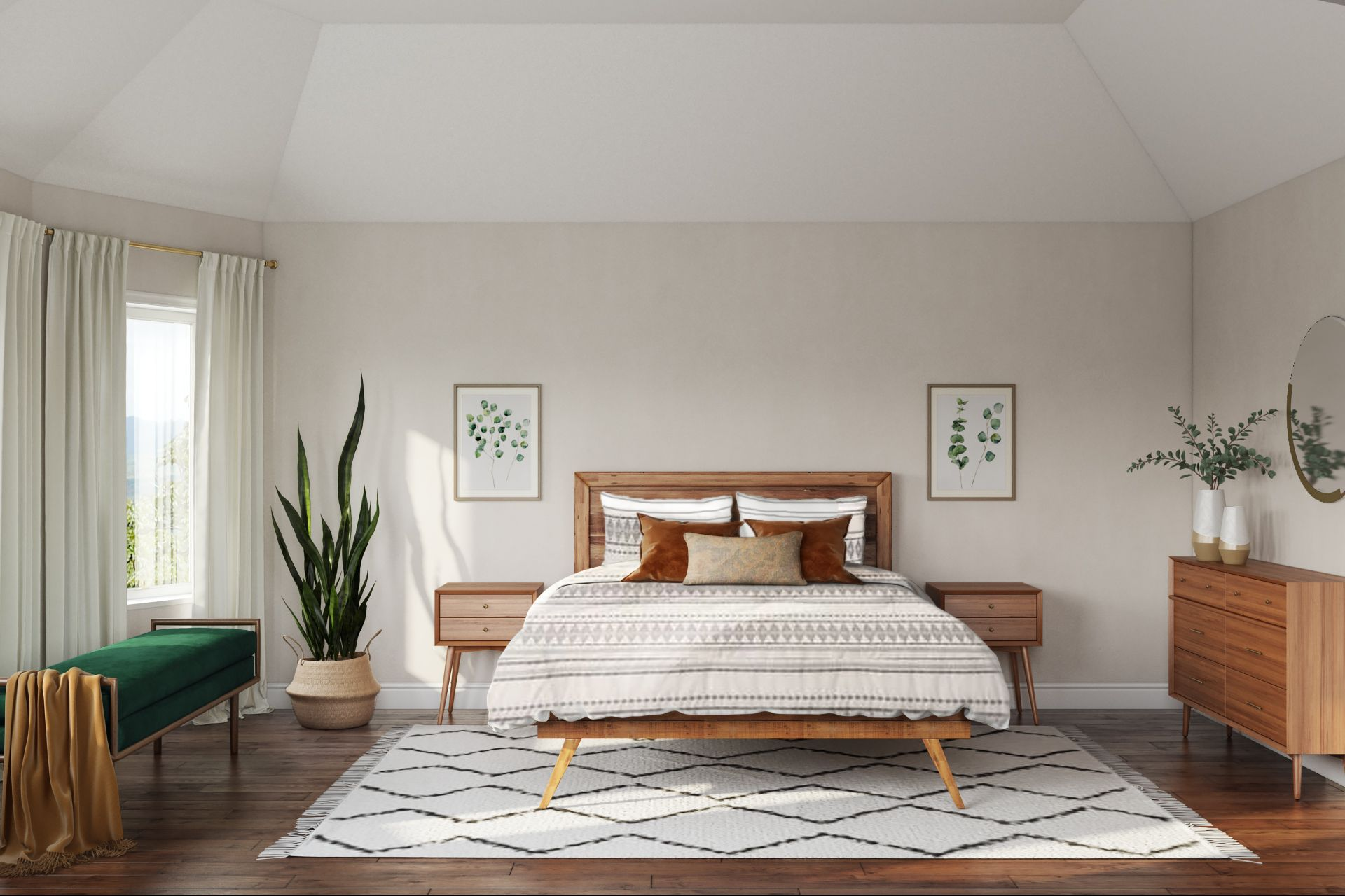 An Angular Leg Wood Bed Post Is Beautifully Matched With Angular Leg Wood Nightstands In 2020 Bedroom Interior Scandinavian Design Bedroom Modern Scandinavian Bedroom