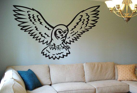 owl wall decal wall sticker art bird flying night time room decor