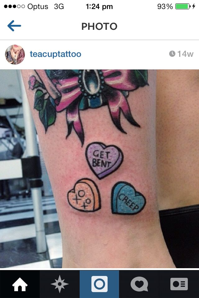 Love this. Candy Hearts tattoo by teacup tattoo | Tattoos ...