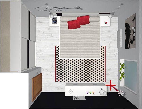 Vista superior del proyecto 3D de la habitación de matrimonio con ...