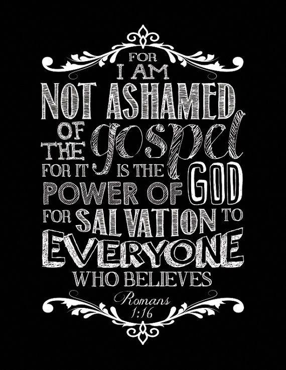 Scripture Chalkboard Art Print Romans 1:16 by DESIGNEDforCHRIST