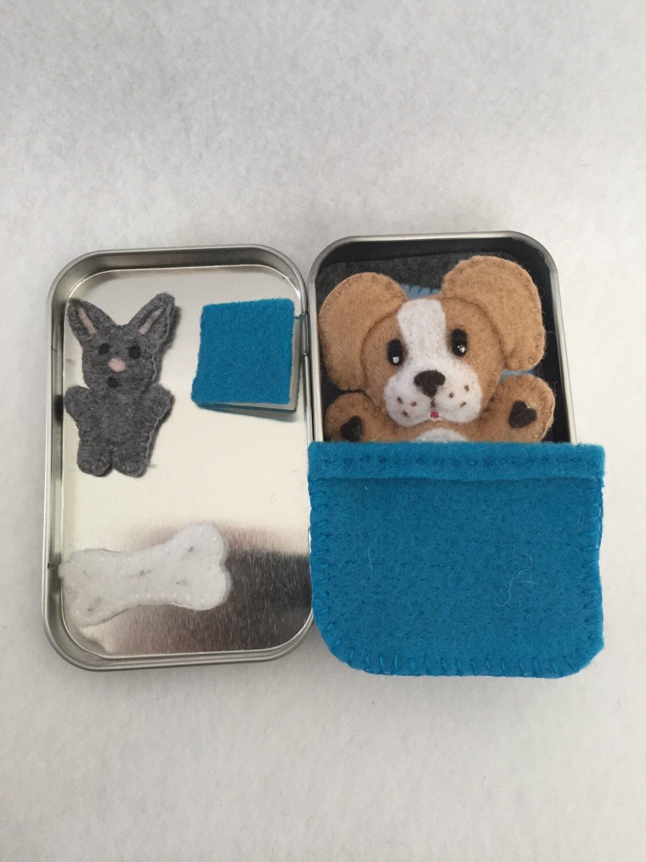 Cute Felt Dog Travel Toy Altoids Size Tin Https Www Etsy Com