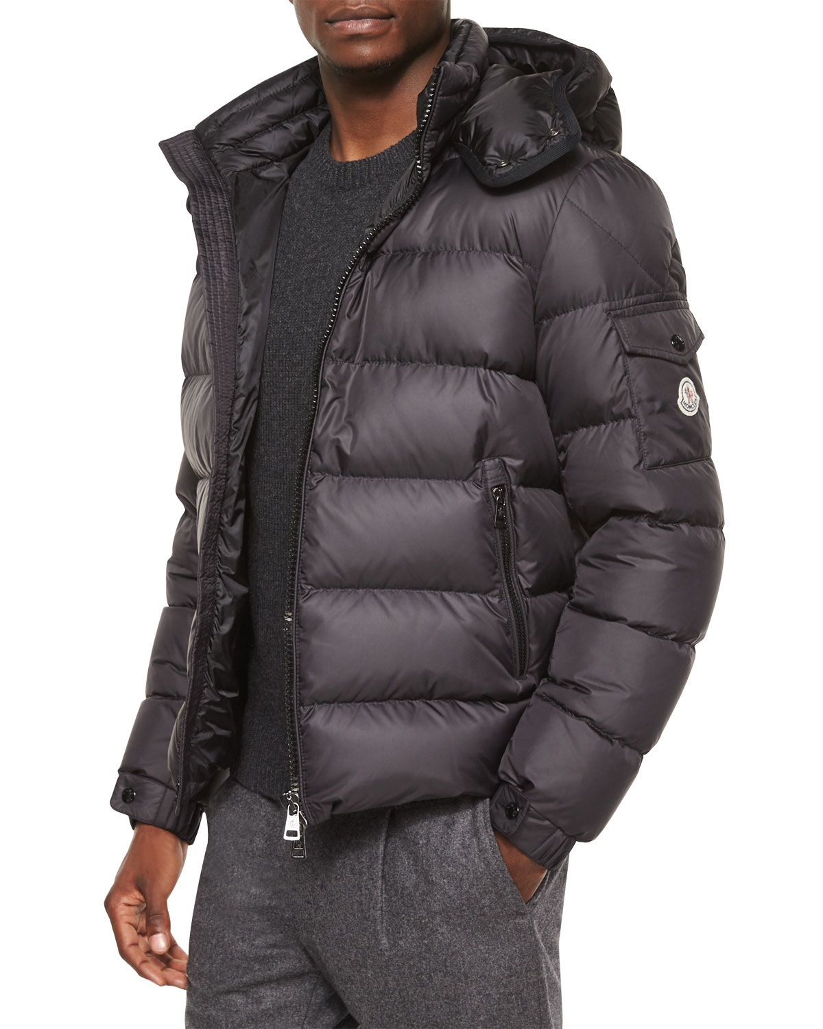 Moncler Himalaya Hooded Down Jacket, Black Leather