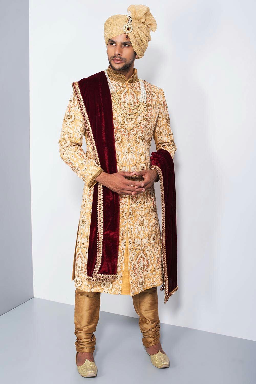 a920c9b0da EKAKSH - yellow and white heavy embroidered sherwani #flyrobe #groom  #groomwear #groomsherwani #sherwani #flyrobe #wedding #designersherwani