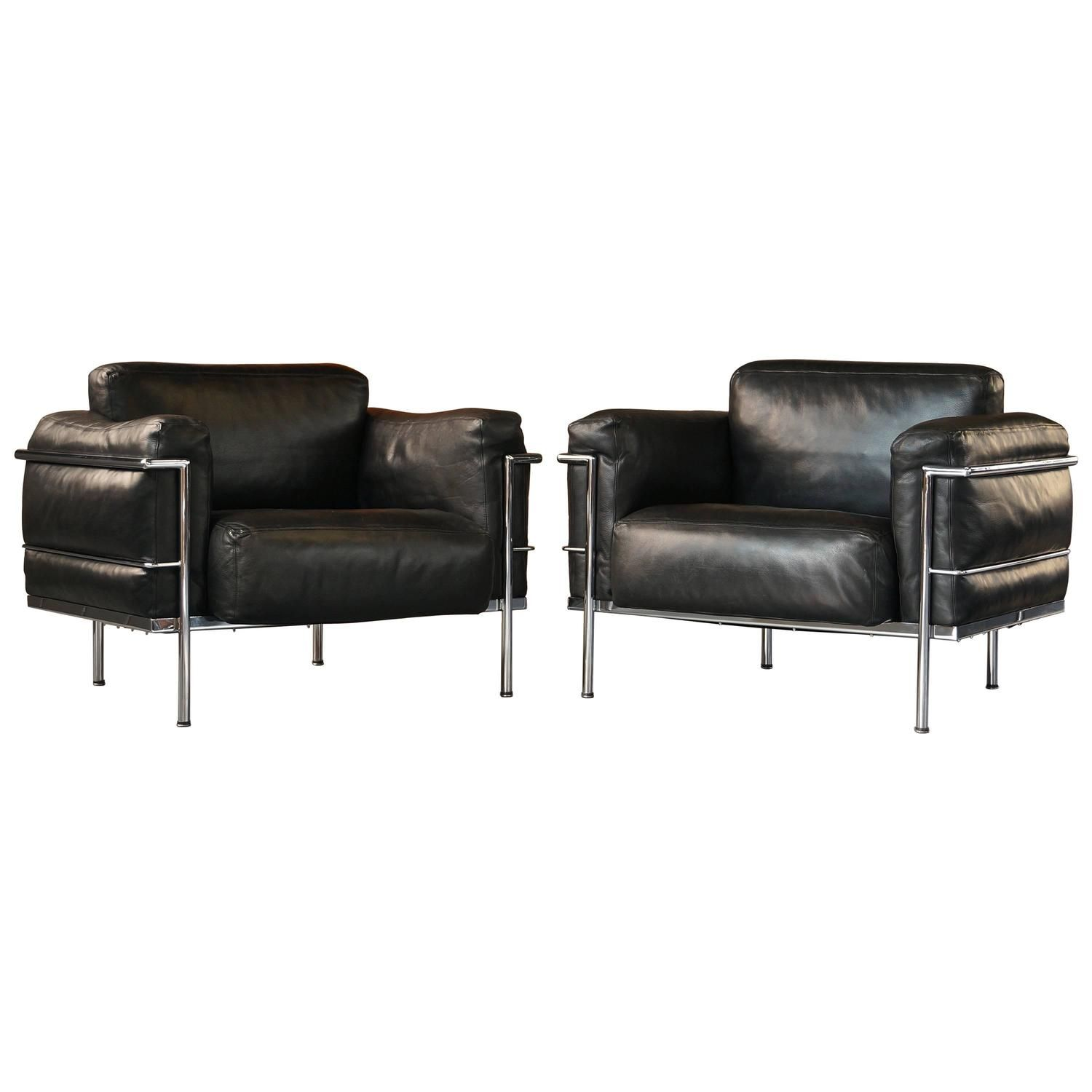 Pair Of Vintage Leather Le Corbusier Grand Confort Lc3 Lounge Chairs Or Armchair Leather Lounge Lounge Chair Chair
