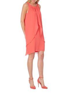 comma Kleid aus Chiffon mit Collierkagen in Rot - 1