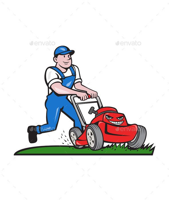Gardener Mowing Lawn Mower Cartoon Lawn Mower Lawn Care Logo Mower