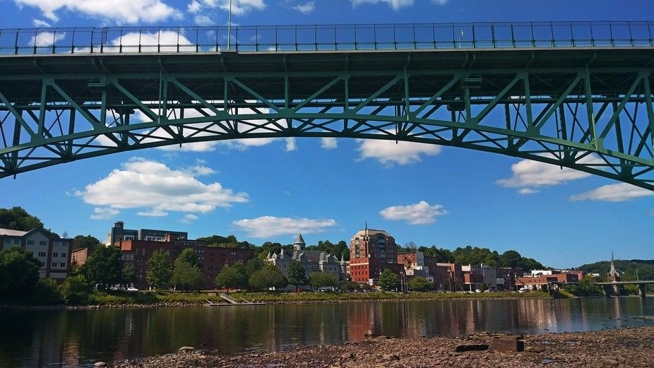 Memorial bridge looking at the city of augusta kennebec