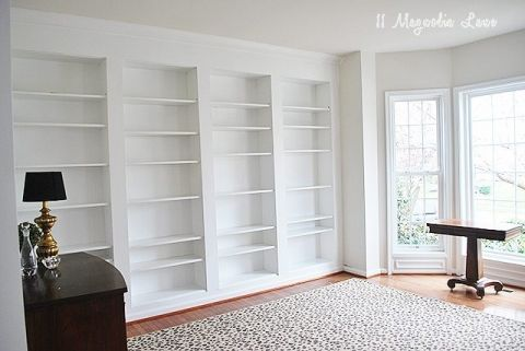 DIY Built-In Wall Shelves Using Billy Bookcases {Ikea Hack}