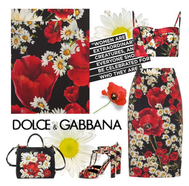 """""""Daisy And Poppies"""" by pink1princess ❤ liked on Polyvore featuring Dolce&Gabbana"""
