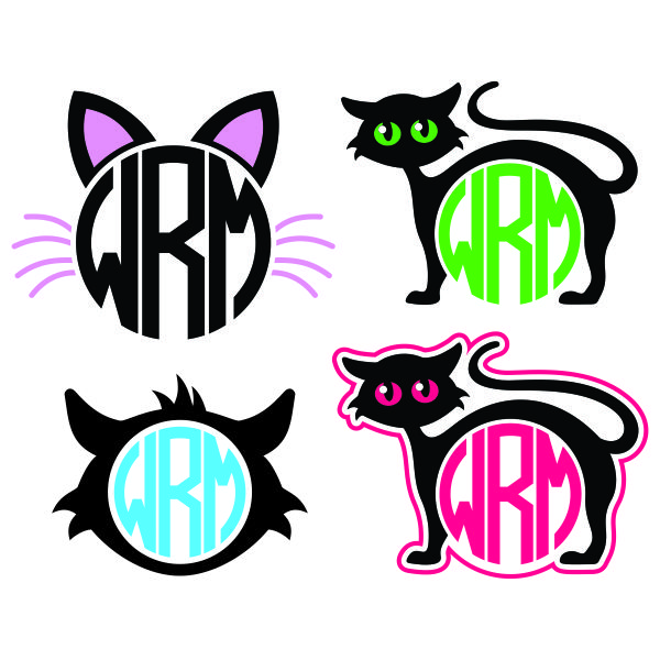 cat monogram svg cuttable frames