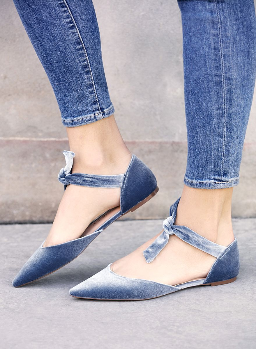 7c3673a71dfd Blue velvet pointed toe flats with knotted tie detail