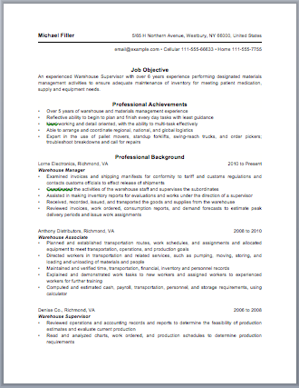 Warehouse Manager Resume  Resume For Warehouse Manager