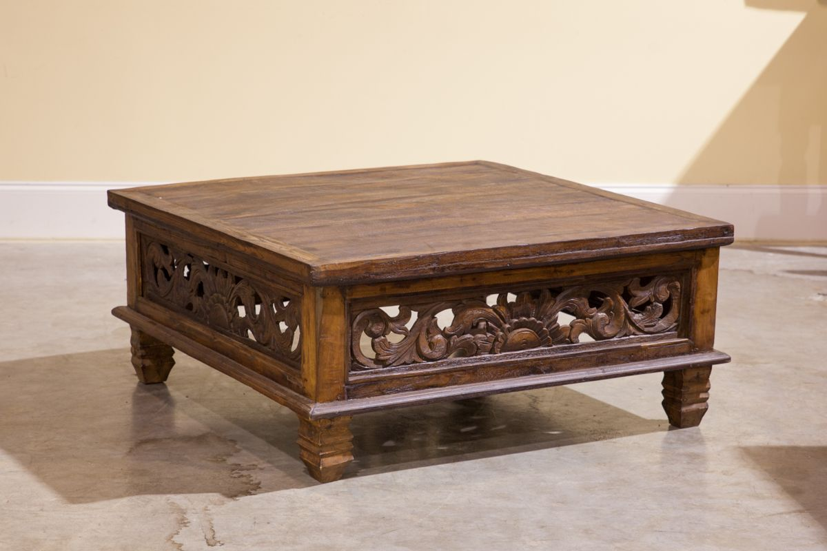 Columbus and cook antiques balinese reclaimed teak coffee table columbus and cook antiques balinese reclaimed teak coffee table w hand carved panels geotapseo Image collections