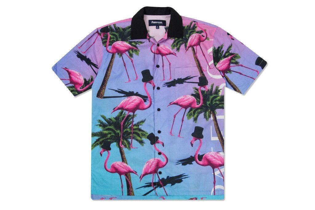de26c81f64 Paterson League Resort Bowling Shirt - Flamingo Print | Bowling ...