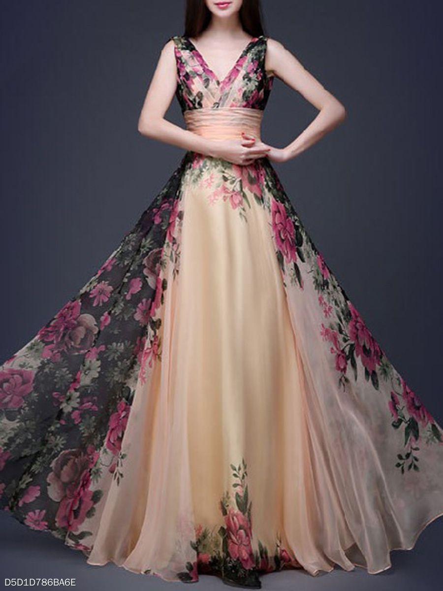 Vneck floral printed chiffon evening dress princess pinterest