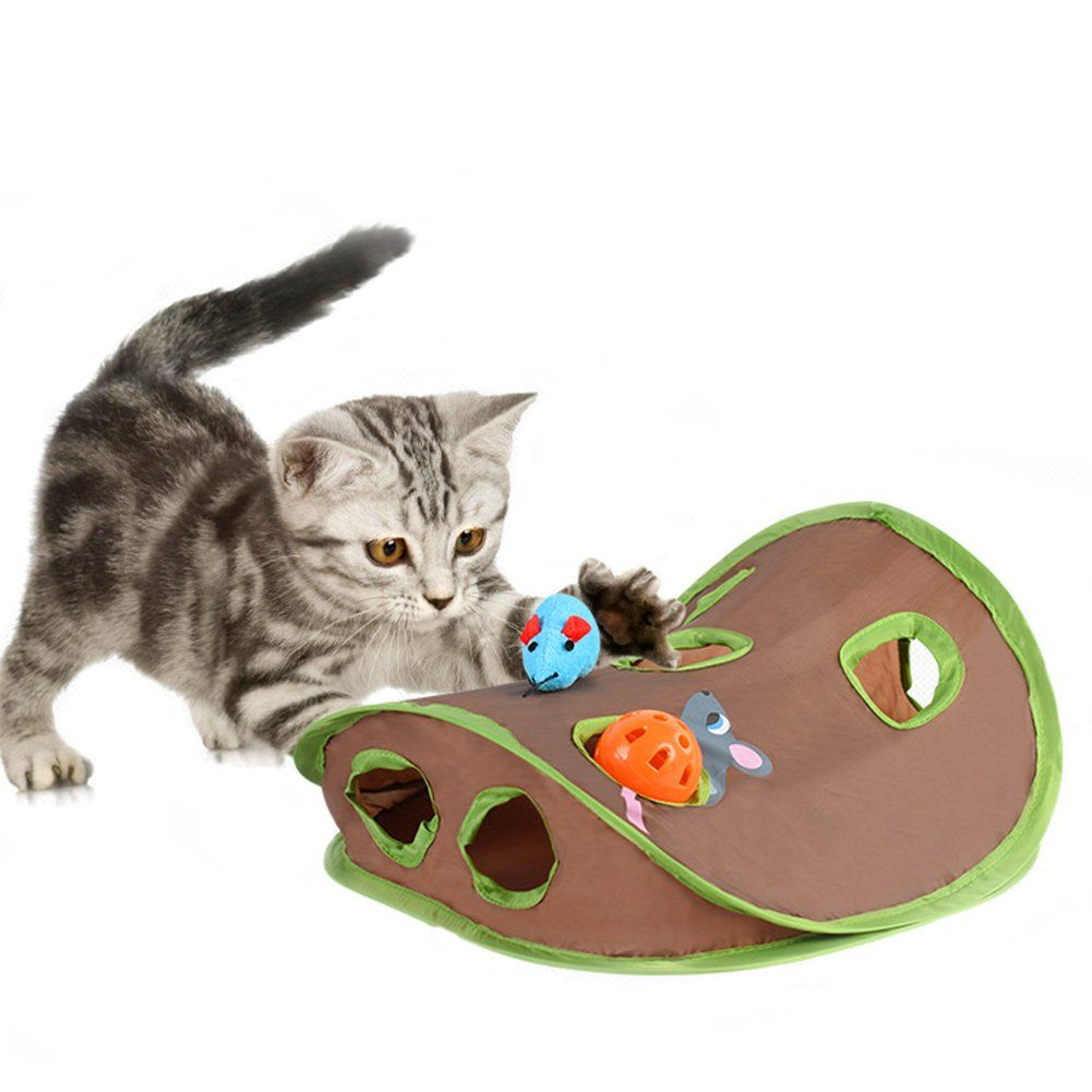 Cat Mice Toy Hide And Seek Game Popup Flexible Intelligence Play Toys 9 Holes Interactive Mouse Hunt Toy With Bellball F Toy Puppies Cat Toys Homemade Cat Toys