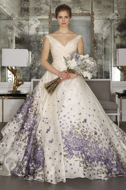 White wedding dresses with purple accent