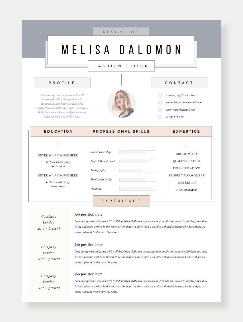 Creative And Professional Resume Template In Microsoft Word Cv With Modern Clean Design Simple Minimal Feminine Style For Your