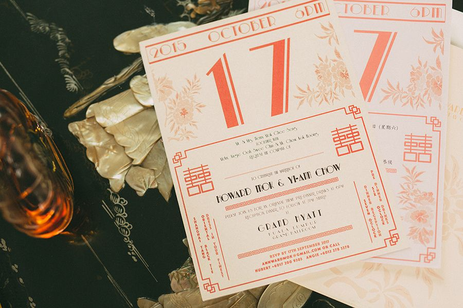 Old shanghai glamour howard and yi anns wedding at grand hyatt old shanghai calendar inspired red wedding invitations old shanghai glamour howard and stopboris Image collections