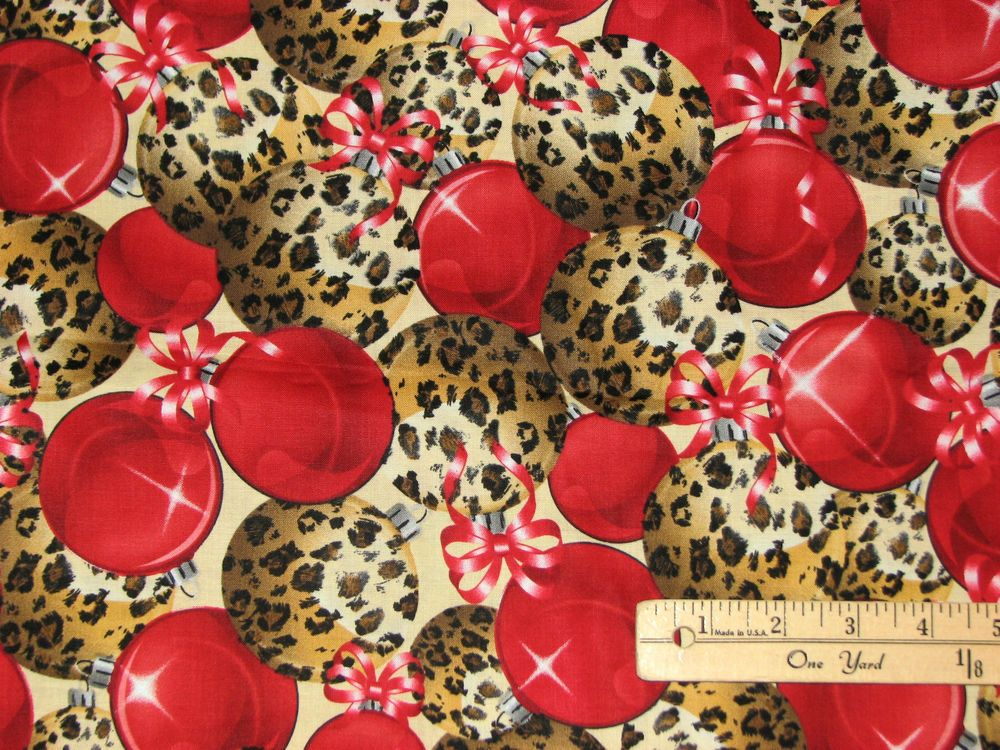 Leopard Skin Ornaments Christmas Fabric  by the 1/2 Yard  #BrotherSister