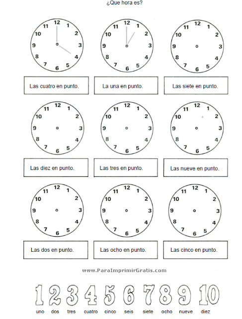El Reloj Spanish Lessons For Kids Math Worksheets Homeschool Organization