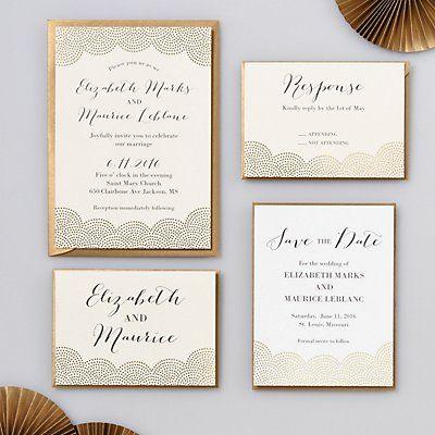 foil stamped scallop dots wedding invitation elizabeth maurice paper source - Paper Source Wedding Invitations