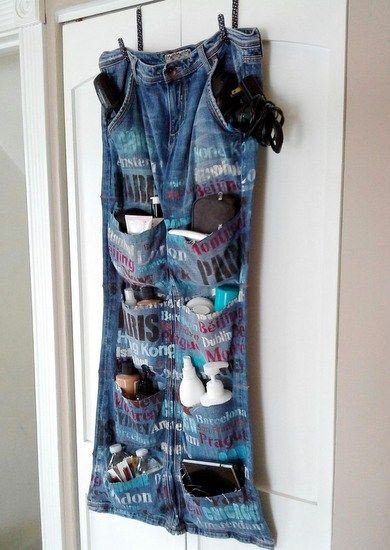 Upcycled Blue Jean Travel Hanging Door Organizer is part of Upcycled Crafts Awesome Blue Jeans - Tutorial on how to make a blue jean hanging organizer from an old pair of blue jeans  Organizer can be used for craft rooms, kids toys, teen rooms, travel
