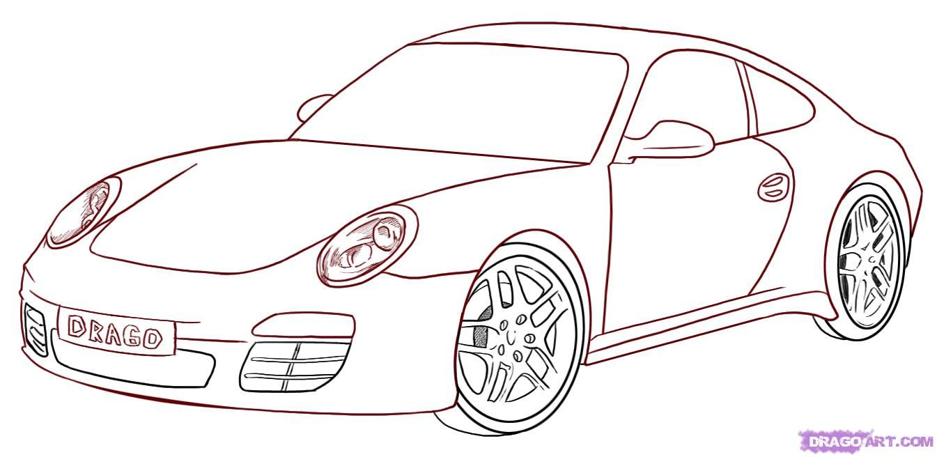 How To Draw A Porsche Step 6 1 000000007075 5 Jpg 1345 656 Cool Car Drawings Car Drawings Step By Step Drawing