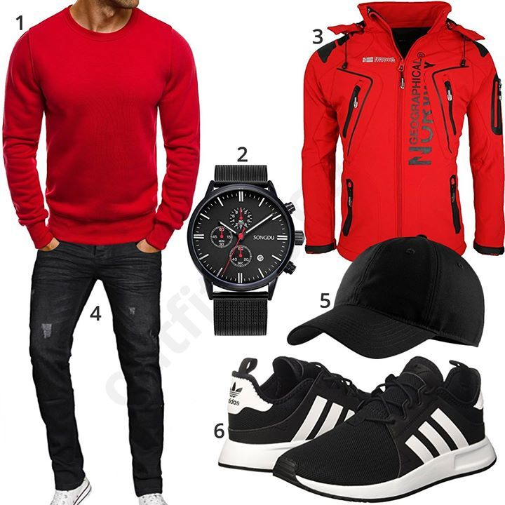 Rot Schwarzes Outfit mit Geographical Norway Jacke (m0562
