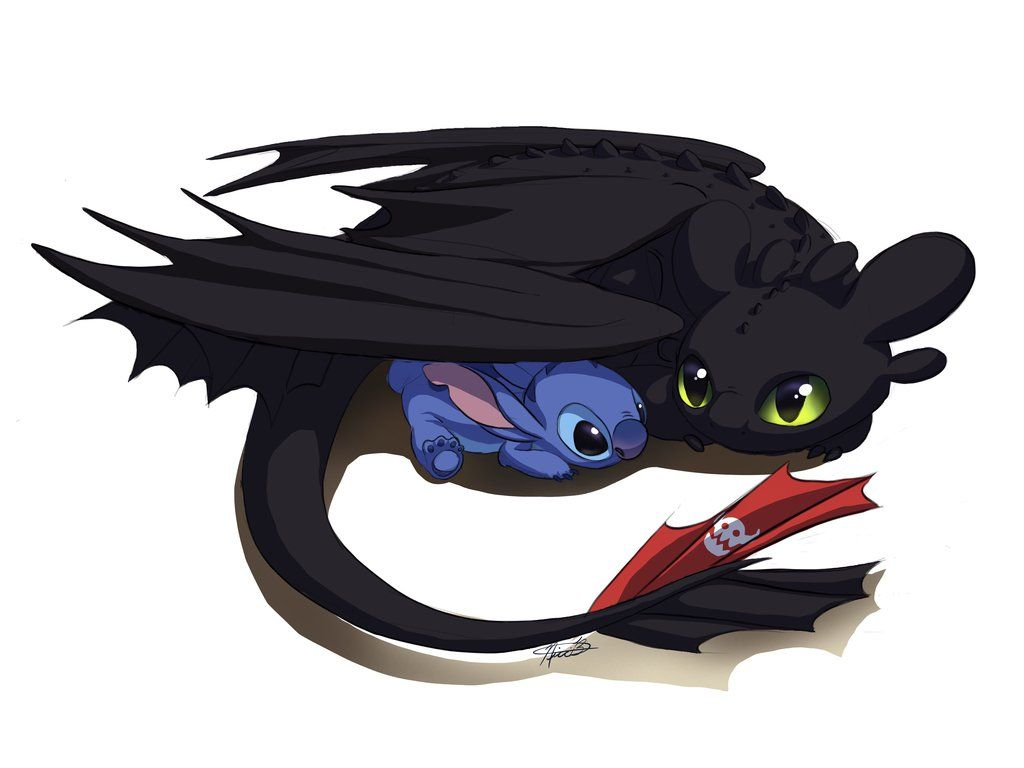 Toothless And Stitch By Kuvari Toothless And Stitch Cute