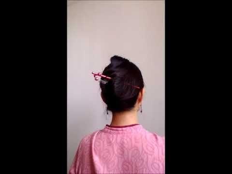 如何做髮髻 五秒搞定 用髮簪 筷子或筆就行 - YouTube | Plaits hairstyles