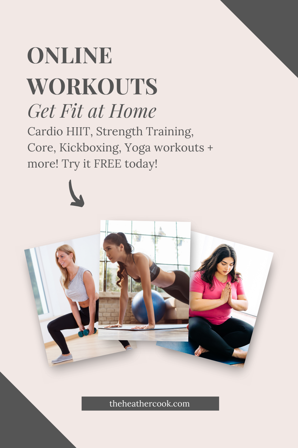 Workout easily from your home with online workouts like: Cardio HIIT, Strength Training, Yoga, Core, Kickboxing & more! All the resources & workouts to help you get fit and strong at home.  #fitness #workouts #exercise #cardio #HIIT #fitnessmotivation #workoutfromhome #onlineworkouts #healthandfitness #strengthtraining #yoga #core