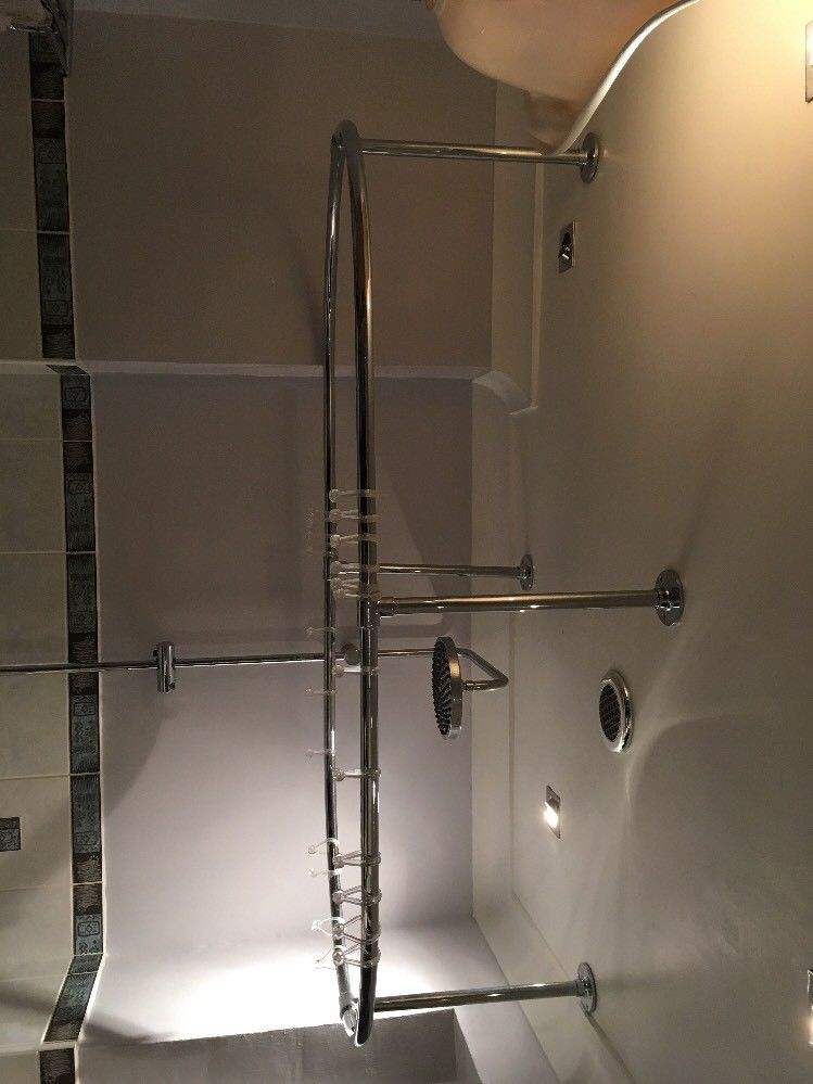 Roll Top Bath, Taps, Shower and Oval Shower Rail   Shower rail, Roll ...