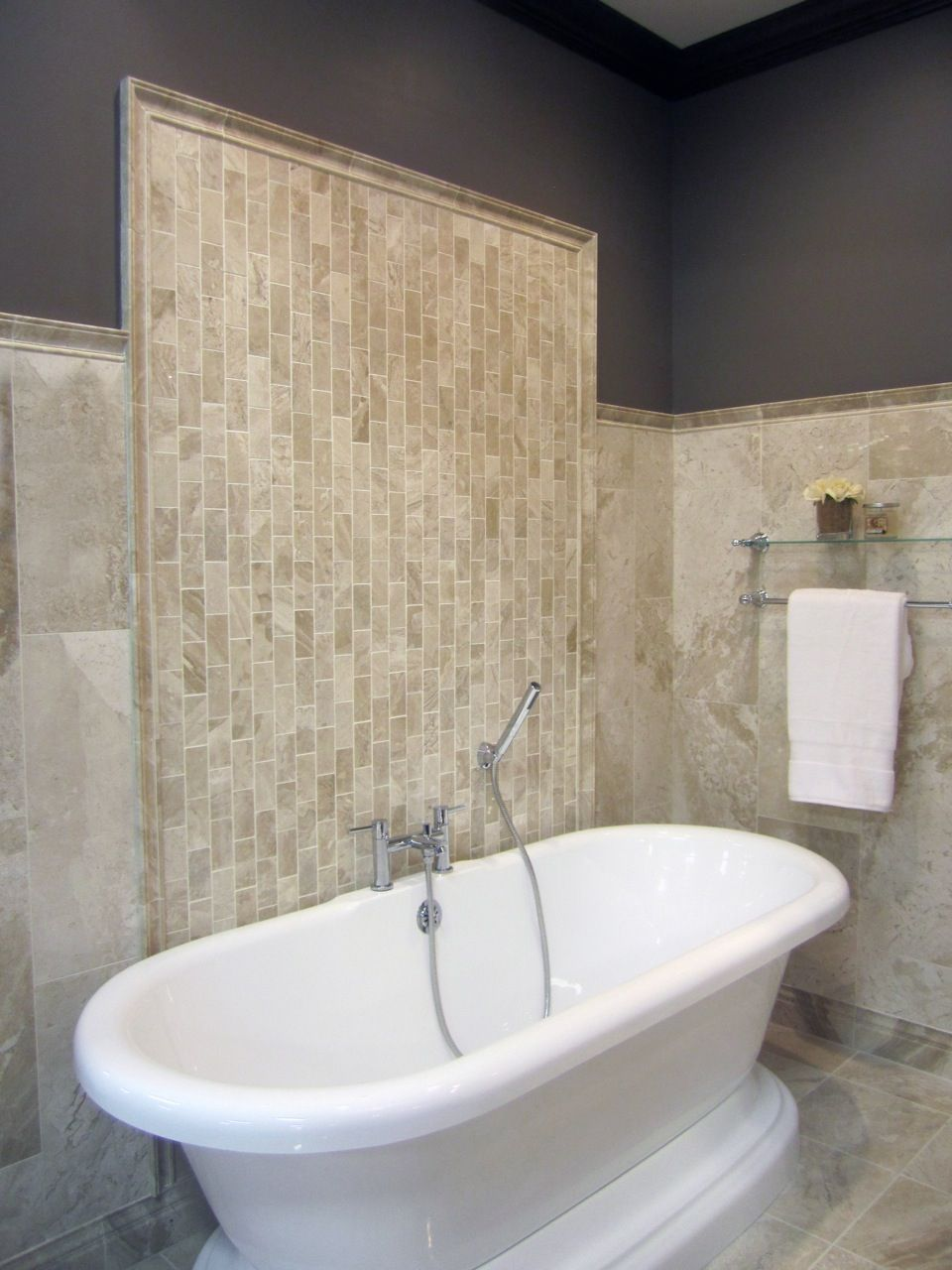 A vertical travertine subway tile pattern bathroom pinterest a vertical travertine subway tile pattern dailygadgetfo Image collections