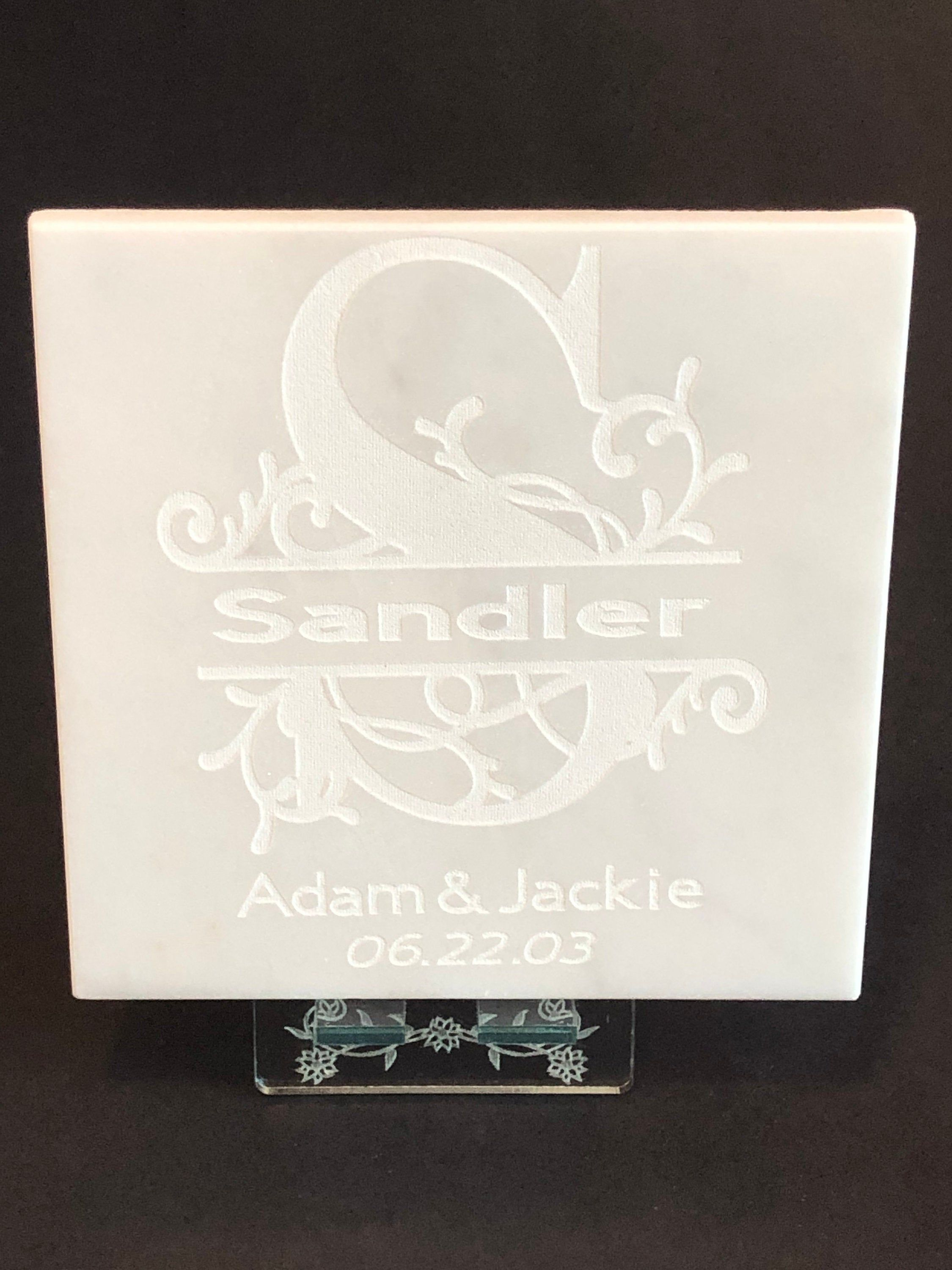 Family Name Monogram Marble Tile Plaque Laser Engraved Est Etsy Laser Engraving Marble Tile Engraved Gifts
