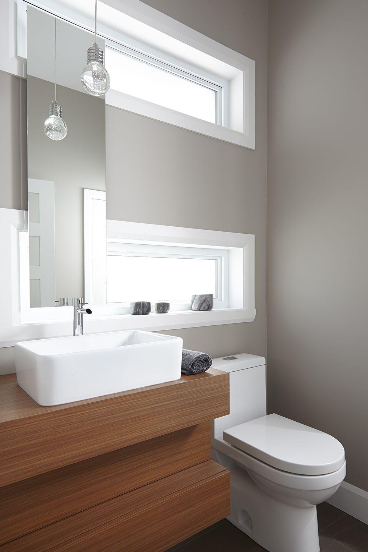 Salle d 39 eau de style moderne vanit en m lamine au grain horizontal et comptoir salle de - Gonthier cuisine et salle de bain ...