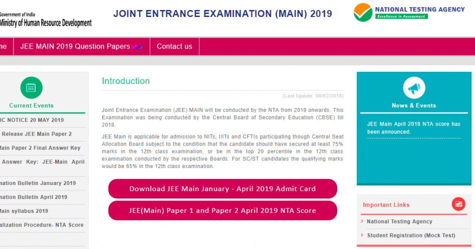 Schedule For Jee Main 2020 Got Released Human Resource Development Candidate
