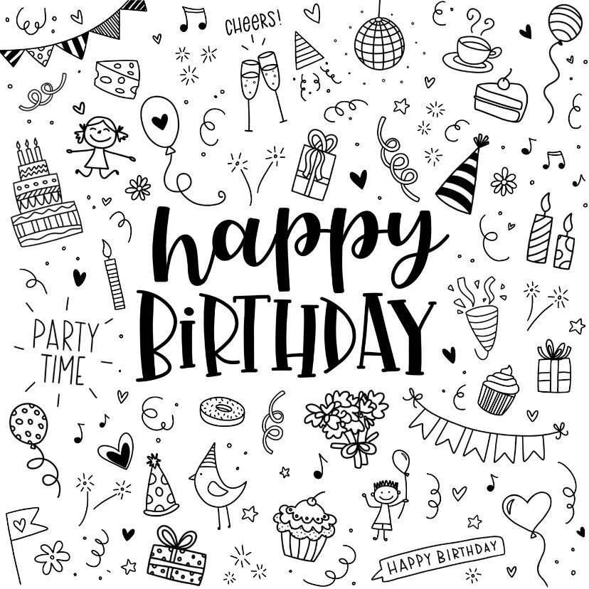 Good Photo Happy Birthday Card Tips Shopping For Your Friends And Relatives Amusing Careful Or Perh Birthday Doodle Happy Birthday Doodles Happy Birthday Art