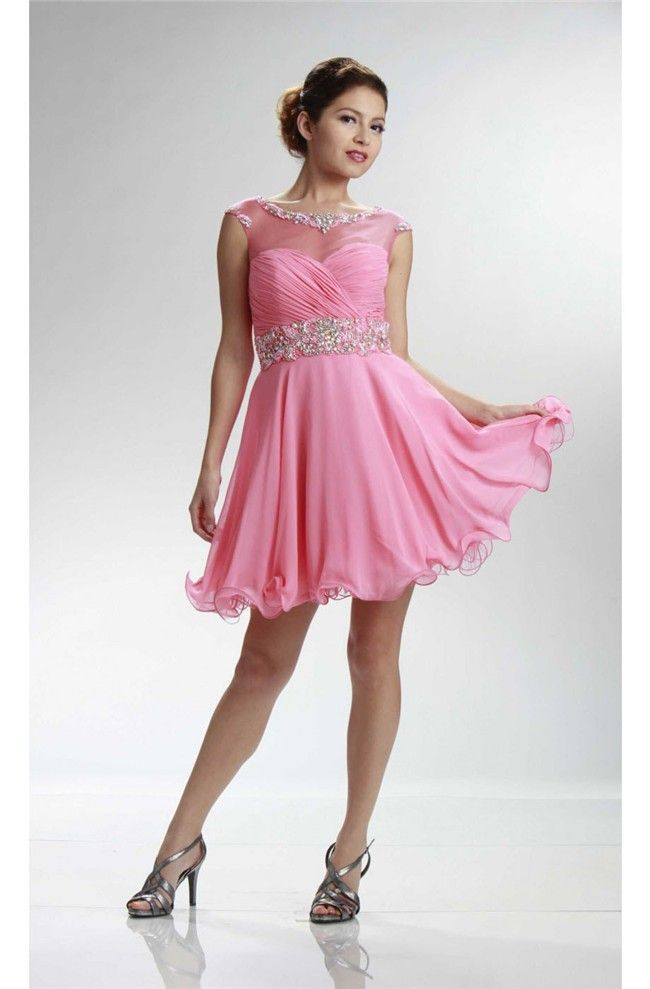 Cute Cap Sleeve Open Back Short Pink Chiffon Beaded Cocktail Prom ...