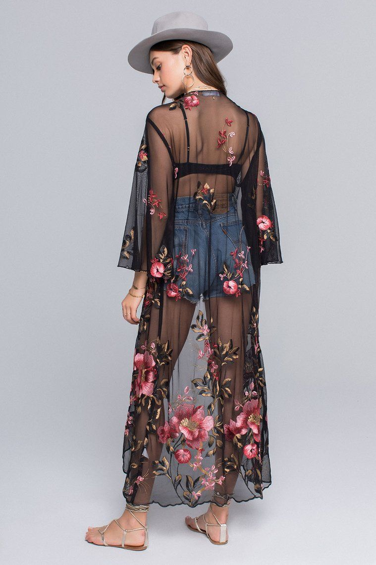 Emily sunset floral embroidery sheer duster