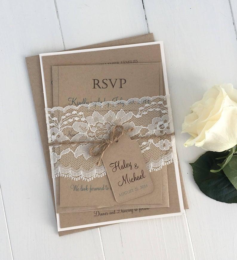 Rustic Lace Wedding Invitation Kit Lace Wedding Invite Etsy In 2020 Wedding Invitation Kits Country Wedding Invitations Wedding Invitations Diy Rustic