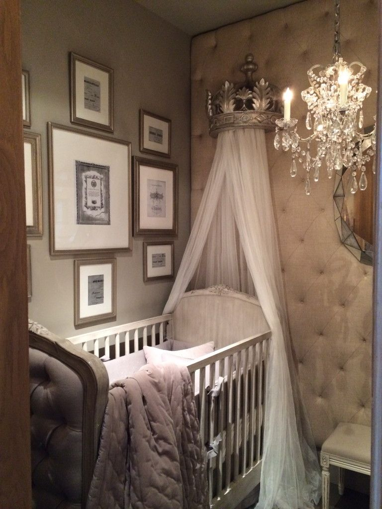 Gorgeous upholstered crib and canopy from Baby u0026 Child Restoration Hardware - Refunk My Junk & Gorgeous upholstered crib and canopy from Baby u0026 Child Restoration ...