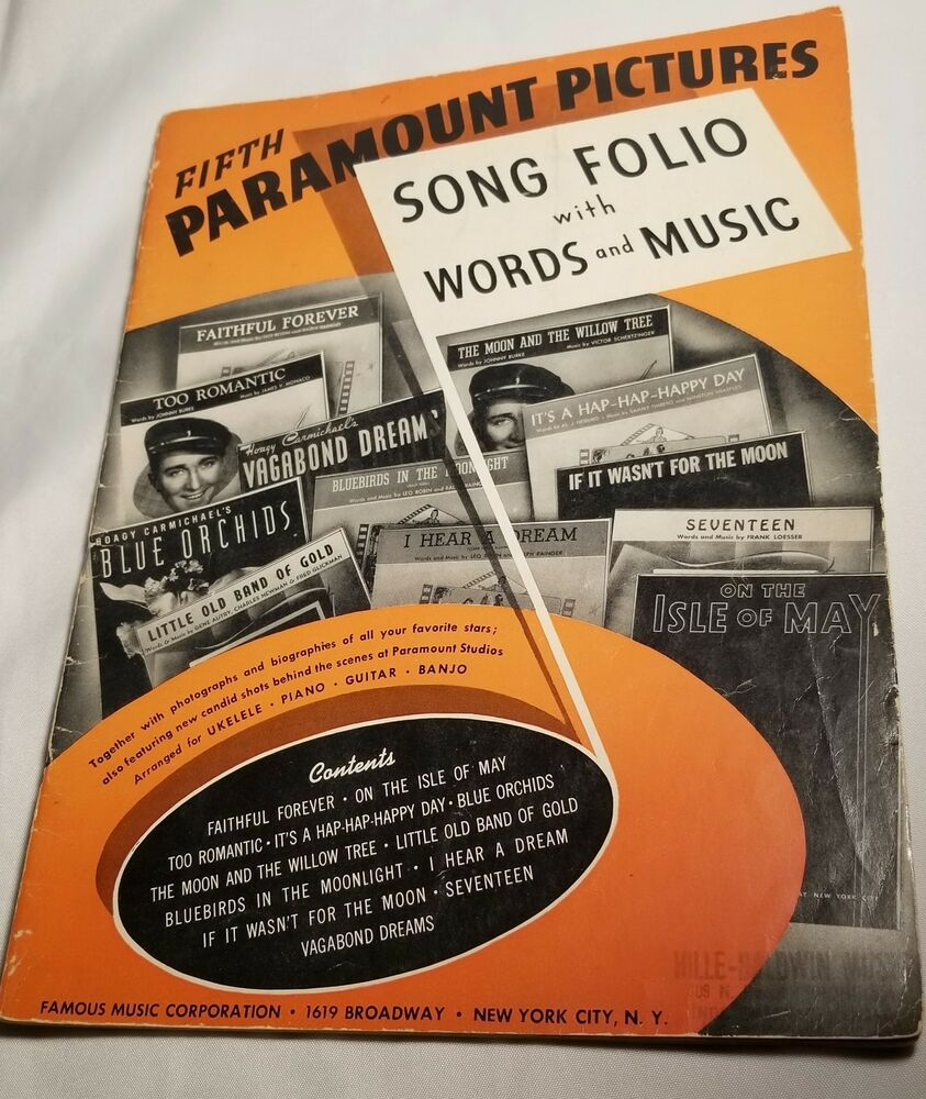 1940 FIFTH PARAMOUNT PICTURES SONG FOLIO | Check out this wonderful