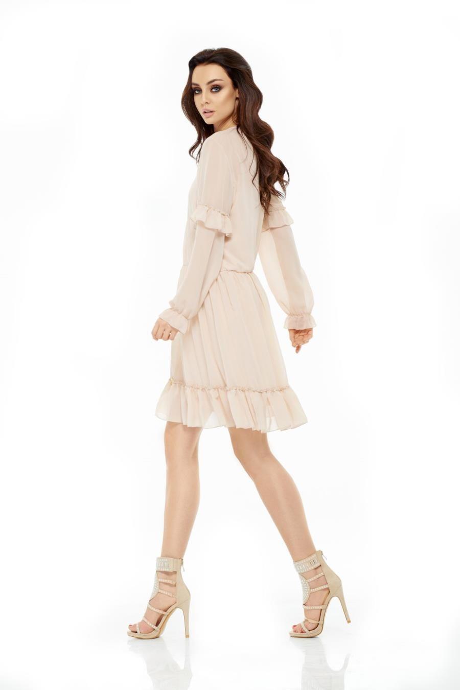 7b18137314 Zwiewna Sukienka z Szyfonu Beżowa LEL240